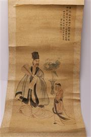 Sale 9060 - Lot 40 - Chinese Scroll Depicting a Man and Servant