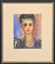 Sale 8297 - Lot 542 - Danila Vassilieff (1897 - 1958) - Portrait of a Woman, c1947 28.5 x 22cm
