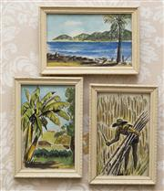 Sale 8375A - Lot 7 - Three Works - V. Urquhart - Magnetic Island, Townsville, Cane Cutter (3) 1954	 each 13.5 x 8.5 cm