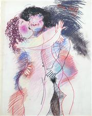 Sale 8410A - Lot 5019 - Anne Hall (1945 - ) - Untitled, 1977 (Two Lovers Embraced) 76.5 x 56cm (sheet size)