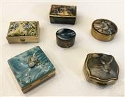 Sale 8436A - Lot 30 - A group of 6 pill boxes including five with fabric covered lids and one stone and silver example.