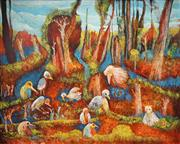 Sale 8492 - Lot 528 - Douglas Stubbs (1927 - 2008) - Birds in Landscape 89.5 x 120cm