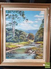 Sale 8491 - Lot 2044 - Jan Davis Landscape with River Oil on Canvas on Board; Image Size 64x59cm SLR