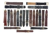 Sale 8641 - Lot 314 - A GROUP OF UNUSED MOSTLY HIRSCH GENTS WATCH BANDS (20); 17 Hirsch leather, 2 x other leather, and 2 x neoprene, sizes 16 - 20mm, ne...