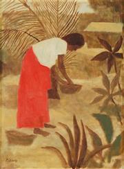 Sale 8773 - Lot 533 - Ray Crooke (1922 - 2015) - Untitled (Island Scene, Gathering) 29.5 x 22cm