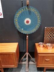 Sale 8801 - Lot 1010 - Vintage Timber Chocolate Wheel on Stand
