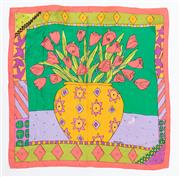Sale 8800F - Lot 54 - A Ken Done printed silk scarf with floral design and geometric border, 71 x 71cm