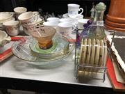 Sale 8819 - Lot 2500 - Caithness Glass Amber Coloured Candle Stand Together with Teapot Themed Paperweight and Other Glasswares