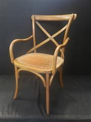 Sale 8959 - Lot 1016 - Set of Six Brown Cross Back Carvers (H: 90, W: 50, W: 43cm)