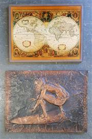 Sale 8979 - Lot 1029 - Copper Wall Art Together with Framed World Map (Various Sizes)