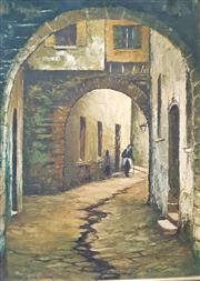 Sale 9058 - Lot 2086 - Norris Brook; Italian Street Scene; oil on board; frame: 60 x 50; signed lower left