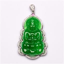 Sale 9107 - Lot 93 - A Green Composite Guanyin Pendant (H 5.5cm)