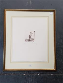 Sale 9127 - Lot 2007 - Adrian Feint The Balcony etching, ed. 49/50, frame: 63 x 53 cm, embossed lower right -
