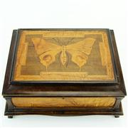 Sale 8387 - Lot 34 - Edwardian Burr Timber Butterfly Motif Jewellery Box