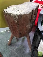 Sale 8545 - Lot 1074 - Primitive Chopping Block Raised on Three Legs