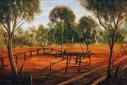 Sale 8575 - Lot 533 - Kevin Charles (Pro) Hart (1928 - 2006) - Sheep yard 31.5 x 46.5cm