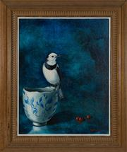 Sale 8595A - Lot 14 - JV Forbes - Finch Perched on a Porcelain Cup 34 x 27cm