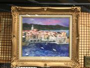 Sale 8752 - Lot 2078 - Artist Unknown - Coastal Village, Oil, SLR, 36x44cm