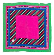 Sale 8800F - Lot 79 - An Yves Saint Laurent printed silk scarf of geometric design in pinks, greens and blues, 62 x 62cm