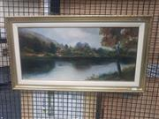 Sale 8836 - Lot 2029 - Early Oil Painting of River Dochart by F Harman, signed and inscribed