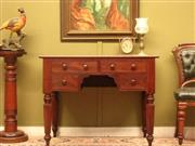 Sale 8925H - Lot 33 - An antique Georgian mahogany four drawer kneehole desk on fluted legs. Some restoration to the surface, Height 76.5cm, Width 98cm, D...