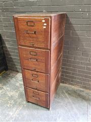 Sale 8962 - Lot 1015 - Vintage Timber Four Drawer Filer (H:140 x W:44 x D:72cm)