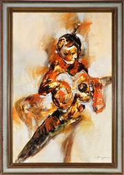 Sale 9019 - Lot 2095 - Filipino School - Guitar Sonnet,1970 89.5 x 59.5 cm (frame: 106 x 75 x 5 cm)