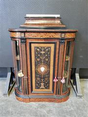 Sale 9031 - Lot 1008 - Fine & Compact Victorian Amboyna, Ebonised & Marquetry Credenza, the stepped top with onyx slab, above a reeded and lower festooned...