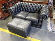 Sale 9031 - Lot 1086 - Moran Merry Widow 3 Seater & 2 Seater Black Leather Chesterfield Lounges, together with an ottoman (LARGEST H: 69 x W: 190 x D: 95...
