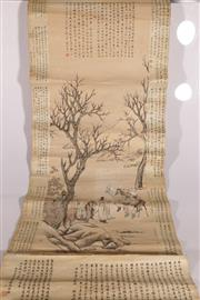 Sale 9078 - Lot 34 - Chinese Scroll Depicting Merchants Trading