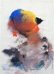 Sale 8410A - Lot 5020 - Anne Hall (1945 - ) - Untitled, 1966 (Red,Yellow, Blue Faced Sitter) 76.5 x 56cm (sheet size)