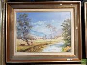 Sale 8491 - Lot 2047 - G. Andrews Isis River, North of Scone Oil on Canvas on Board, Image Size 45x60cm SLL