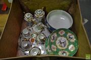 Sale 8518 - Lot 2339 - Victoria Ware Plates & Cake Stand with Wedgwood Bowl & Lusterware Tea Ceramics in Suitcase, A/F