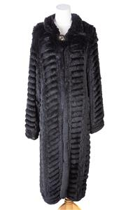 Sale 8550F - Lot 78 - A full length black rabbit ribbed effect coat, with decorative clasp, size M-L.