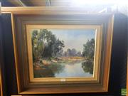 Sale 8659 - Lot 2032 - Alison Love - The Billabong, acrylic on canvas on board, 46 x 54.5cm (frame size), signed lower left