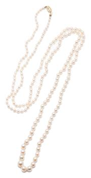 Sale 9037 - Lot 380 - A VINTAGE OPERA LENGTH GRADUATED PEARL NECKLACE; 3 - 8mm round cultured pearls of fine colour and lustre to a 14ct gold clasp, lengt...