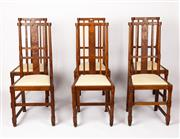 Sale 9048A - Lot 43 - A good set of 6 inlaid oak dining chairs with upholstered drop in seats and stretchers, circa 1910 (h:107 x w:38 x d:41cm) Provenanc...
