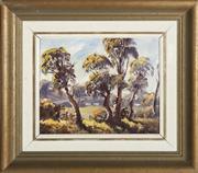 Sale 9055A - Lot 5093 - Ronald Parsons (1923 - 2006) - Sunlit Pasture near Oberon 19 x 24 cm (frame: 34 x 39 x 3 cm)
