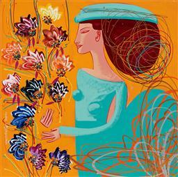 Sale 9081A - Lot 5053 - Constantine Popov (1965 - ) - Woman with Flowers 92 x 92 cm