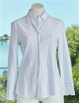 Sale 9120K - Lot 57 - A Giorgio Armani light blue striped cotton long sleeve button up shirt, size 42