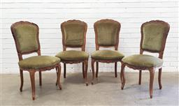 Sale 9112 - Lot 1065 - Set of four fabric upholstered dining chairs (h98 x w50 x d43cm)