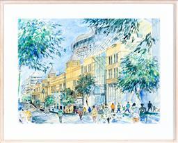 Sale 9130S - Lot 19 - Artist Unknown, watercolour, Pirrama St Pyrmont architecture, 74cm x 99cm (frame size 101cm x 125cm)