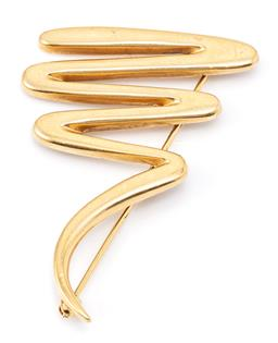 Sale 9149 - Lot 351 - A TIFFANY & CO PALOMA PICASSO 18CT GOLD SCRIBBLE BROOCH; size 46 x 30mm, stamped to rear, wt. 11.02g.