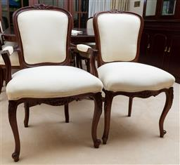 Sale 9155H - Lot 48 - A set of 12 cream fabric Louis XV dinning chairs including two carvers. Height of chairs 95cm, Height of back- carver 98cm