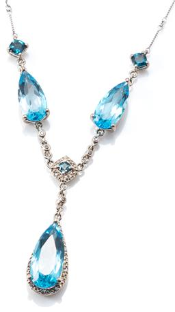 Sale 9160 - Lot 324 - A SILVER TOPAZ NECKLACE; fancy twist bar link chain to long pear cut blue topaz, 3 cushion cut London blue topaz and round cut white...