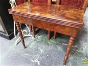 Sale 8416 - Lot 1075 - 19th Century French Figured Walnut Card Table, with green baize interior & ring turned legs