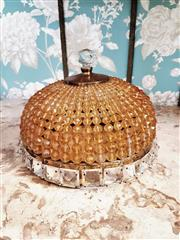 Sale 8500A - Lot 91 - A rare vintage amber Czech rock crystal flush mounted ceiling dome - Condition: Very Good - Measurements: 25cm diameter x 18cm high