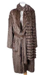 Sale 8550F - Lot 91 - A chocolate brown ribbed rabbit fur full length coat, size 10, with matching scarf.