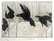 Sale 8607A - Lot 5017 - William Robinson (1936 - ) - Rooster in Flight with Hens, 1979 39 x 32.5cm