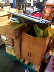 Sale 8663 - Lot 2161 - Pallet of Items incl Sun Lounge, Exercise Books, Pictures, Vibrapower Hiit etc